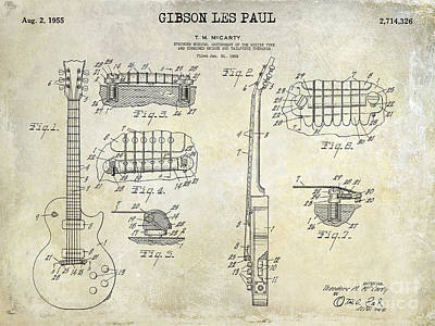 Electric Guitar Photograph - Gibson Les Paul Patent Drawing by Jon Neidert