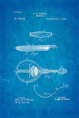 Mandolin Photograph - Gibson Mandolin Patent Art 1898 Blueprint by Ian Monk