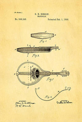 Mandolin Photograph - Gibson Mandolin Patent Art 1898 by Ian Monk