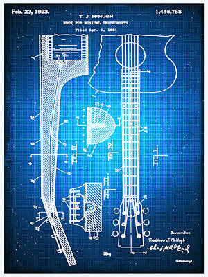 Drawing - Gibson Thaddeus J Mchugh Guitar Patent Blueprint Drawing by Tony Rubino