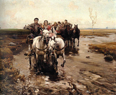 Horse And Buggy Digital Art - Giddy Up by Alfred von Wierusz-Kowalski