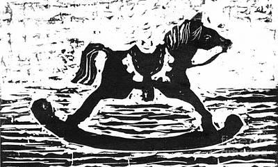 Giddyup Rocking Horse  Block Print Art Print by Ellen Miffitt