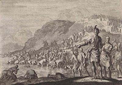 Gideon Orders His Men To Drink Water, Jan Luyken Art Print by Jan Luyken And Pieter Mortier