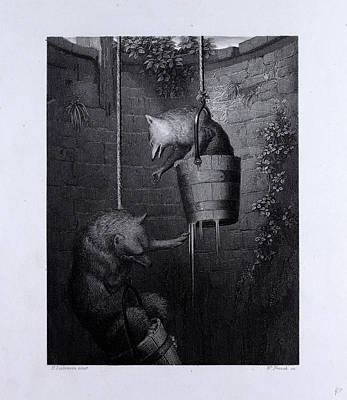 Red Fox Drawing - Gieremund In The Well by English School