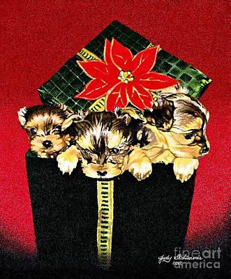 Gift Puppies Art Print by Judy Skaltsounis