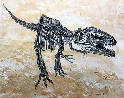 Dinosaur Painting - Giganotosaurus Skeleton by Harm  Plat