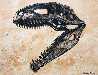 Extinct And Mythical Painting - Giganotosaurus Skull by Harm  Plat