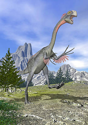 Fir Trees Digital Art - Gigantoraptor Dinosaur Running by Elena Duvernay