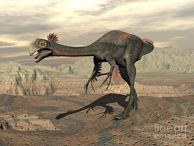 Rocky Digital Art - Gigantoraptor Dinosaur Walking by Elena Duvernay