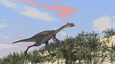Running Digital Art - Gigantoraptor Running Up A Hill by Kostyantyn Ivanyshen
