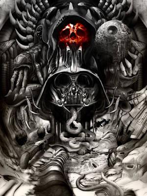 Hr.giger Digital Art - Giger Vader by Jimmy Benedict