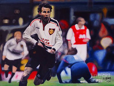 Painting - Giggs Goal V Arsenal Oil On Canvas by David Rives