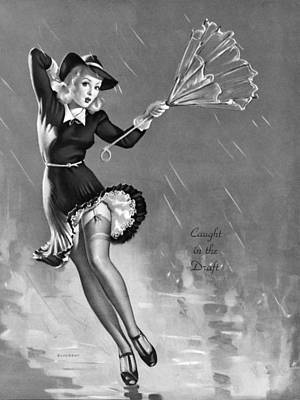 Rain Hat Photograph - Gil Elvgren's Pin-up Girl by Gil Elvgren