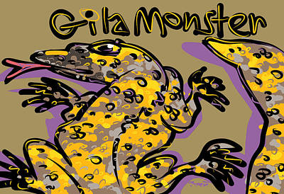Sonora Drawing - Gila Monster by Brett LaGue
