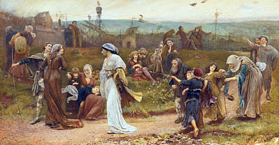 Narrative Painting - Gilbert A Beckets Troth The Saracen Maiden Entering London At Sundow  by George John Pinwell