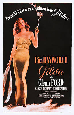 Evening Gown Photograph - Gilda, Rita Hayworth On 1950s Poster by Everett