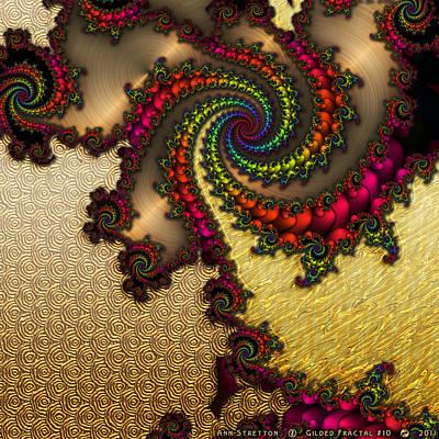 Brass Leafs Digital Art - Gilded Fractal 10  by Ann Stretton