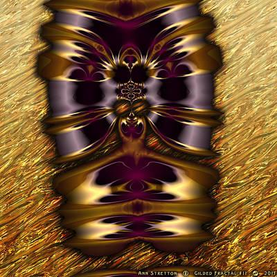 Brass Leafs Digital Art - Gilded Fractal 11  by Ann Stretton