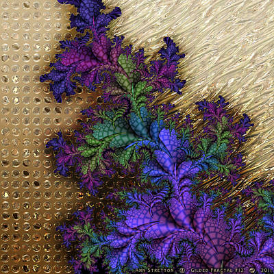 Brass Leafs Digital Art - Gilded Fractal 12  by Ann Stretton