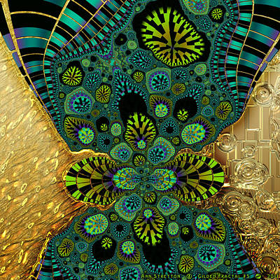 Brass Leafs Digital Art - Gilded Fractal 5  by Ann Stretton