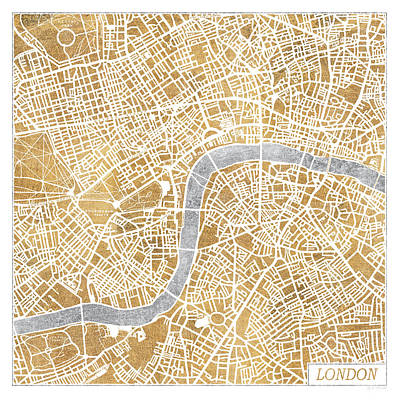 Gild Painting - Gilded London Map by Laura Marshall
