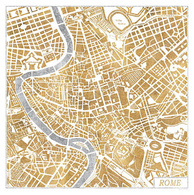 Gild Painting - Gilded Rome Map by Laura Marshall