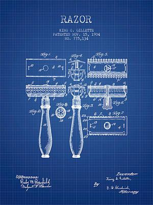 Shave Drawing - Gillette Razor Patent From 1904 - Blueprint by Aged Pixel