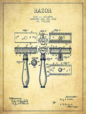 Shave Drawing - Gillette Razor Patent From 1904 - Vintage by Aged Pixel