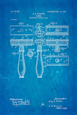 1904 Photograph - Gillette Safety Razor Patent Art 1904 Blueprint by Ian Monk