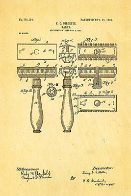 Barbershop Photograph - Gillette Safety Razor Patent Art 1904 by Ian Monk