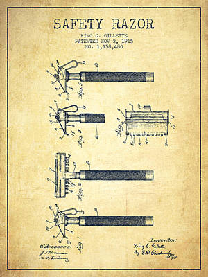 Shave Drawing - Gillette Safety Razor Patent Drawing From 1915 - Vintage by Aged Pixel