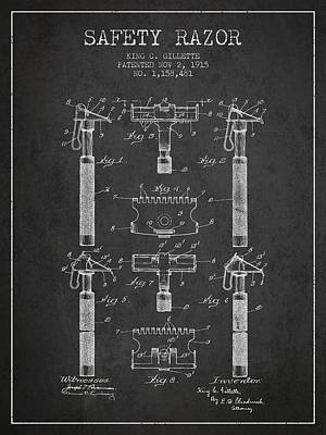 Shave Drawing - Gillette Safety Razor Patent From 1915 - Dark by Aged Pixel