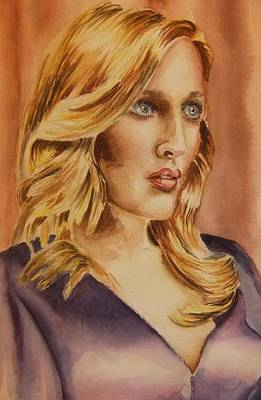 Gillian Anderson Painting - Gillian Anderson by Roger Lennard