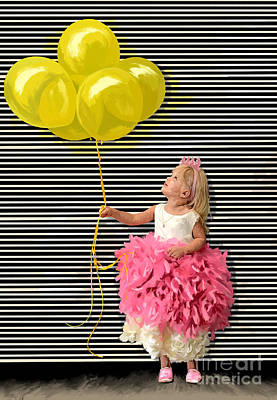 Painting - Gillian With Yellow Balloons by Tim Gilliland