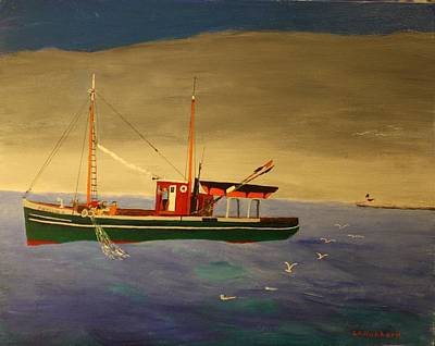 Painting - Gillnetter At Work by Bill Hubbard