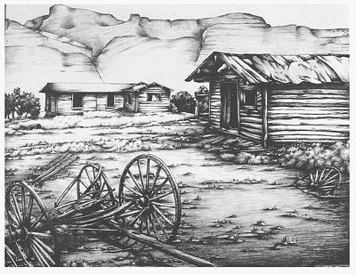 Ghost Towns Drawing - Gilsonite Ghost by Kathleen Bischoff