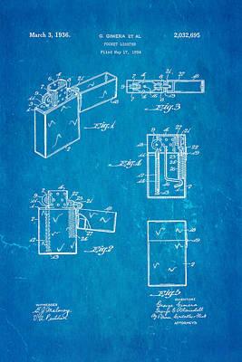 Gimera Zippo Lighter Patent Art 1934 Blueprint Art Print by Ian Monk