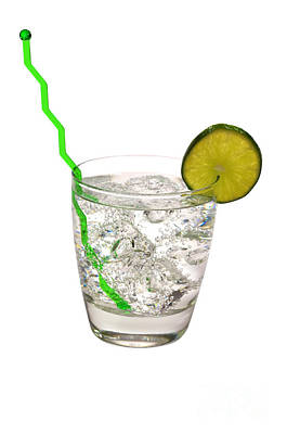 Photograph - Gin And Tonic With Lime And Swizzle Stick Isolated by Danny Hooks