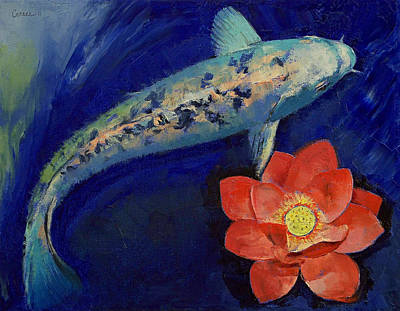 Lilly Pond Painting - Gin Matsuba Koi And Lotus by Michael Creese