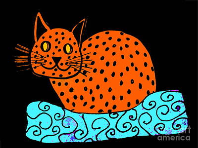 Drawing - Ginger Cat On Black by Barbara Moignard