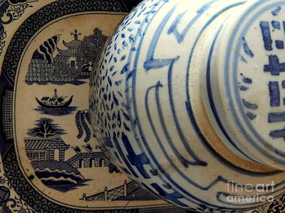 Photograph - Ginger Jar Still Life Of Blue Perspectives by Michael Hoard