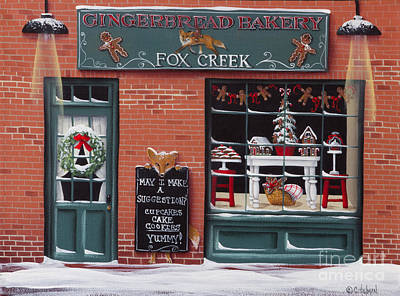 Primitive Folk Art Painting - Gingerbread Bakery At Fox Creek by Catherine Holman