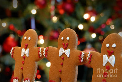 Gingerbread Men In A Line Art Print by Amy Cicconi