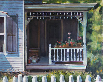 Gingerbread Porch Warren Vermont Print by Pat Percy