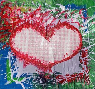 Gingham Crazy Heart Shrink Wrapped Art Print by Genevieve Esson