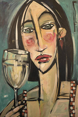 Gingham Girl With Wineglass Original by Tim Nyberg