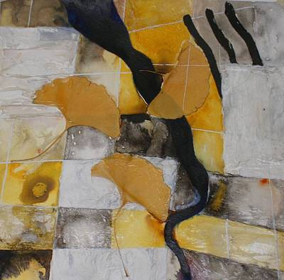 Plant Mixed Media - Gingko Biloba Float Panel IIi by Sandra Gail Teichmann-Hillesheim