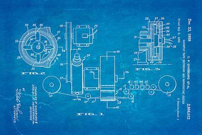 Ginsburg Video Tape Recorder Patent Art 1958 Blueprint Art Print by Ian Monk