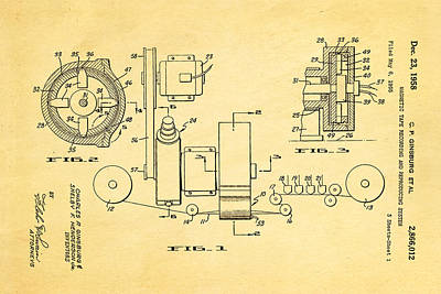 Ginsburg Video Tape Recorder Patent Art 1958 Print by Ian Monk
