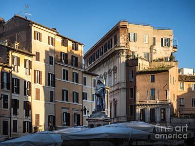 Giordano Bruno Photograph - Giordano Bruno Statue At Campo Dei Fiori Square In Rome Italy by Frank Bach